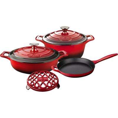 PRO 6-Piece Enameled Cast Iron Cookware Set with Saute, Skillet and Round Casserole with Trivet in Red