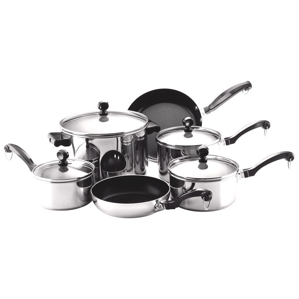 Classic Series 10-Piece Stainless Cookware Set with Lids