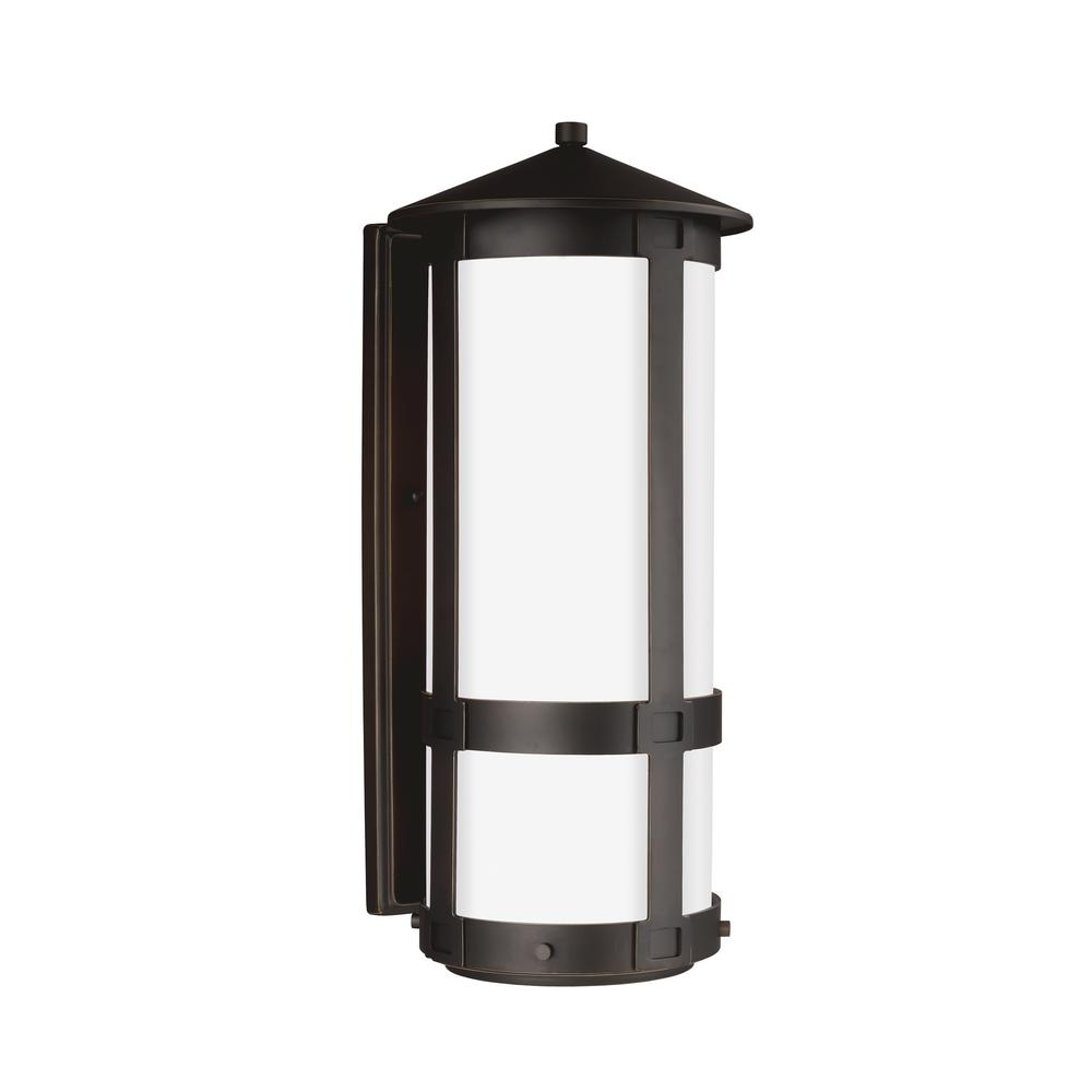 Groveton 1-Light Antique Bronze Outdoor Wall Mount Lantern with LED Bulb