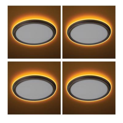 11 in. Oil Rubbed Bronze Beveled Edge Selectable LED Flush Mount with Night Light Feature Ceiling Light (4-Pack)