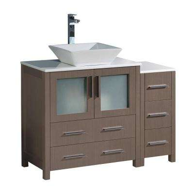 Torino 42 in. Bath Vanity in Gray Oak with Glass Stone Vanity Top in White with White Basin