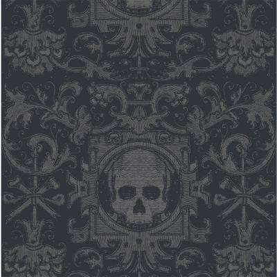 Debut Collection Skull Box in Black Removable and Repositionable Wallpaper