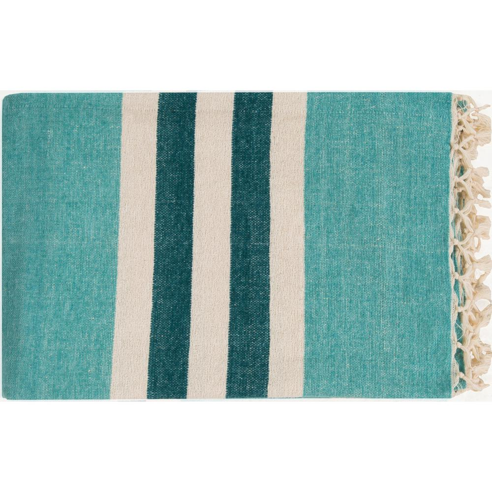 Mack Aqua Cotton Throw