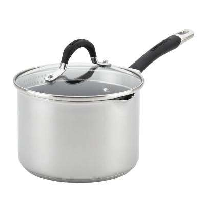 Momentum 3 Qt. Stainless-Steel Covered Straining Non-Stick Saucepan with Pour Spout