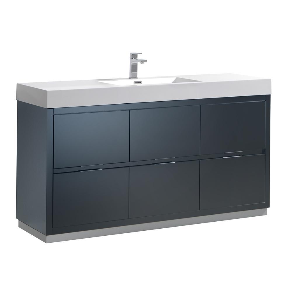 Valencia 60 in. W Bathroom Vanity in Dark Slate Gray with Double Acrylic Vanity Top in White