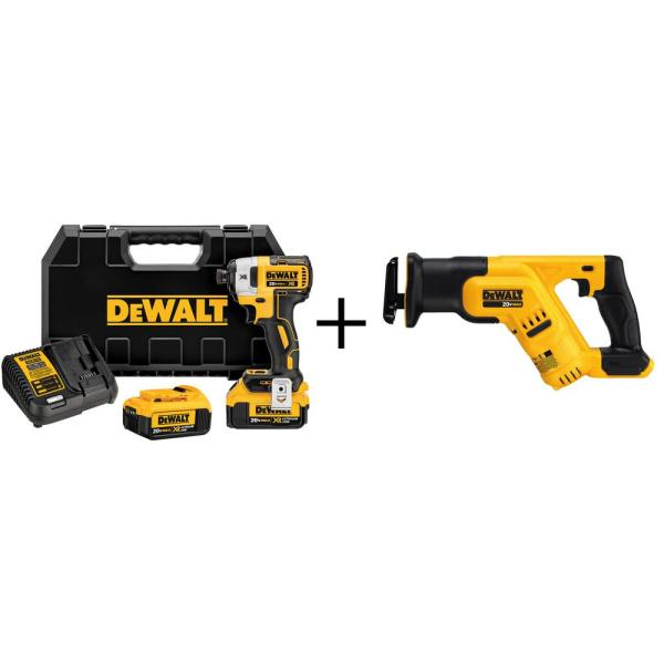 20-Volt Max XR Lithium-Ion Brushless 1/4 in. Cordless 3-Speed Impact Driver with Bonus Bare Reciprocating Saw