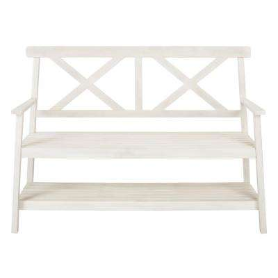 Mayer 2-Person White Wood Outdoor Bench
