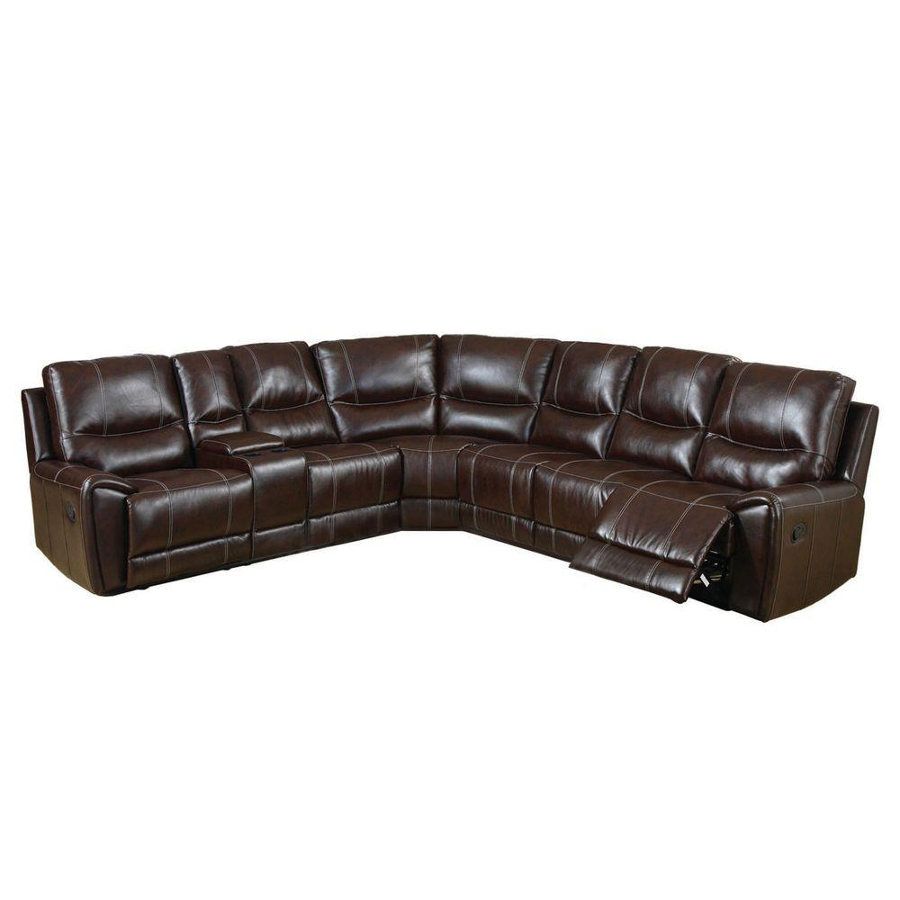 Furniture of America Keystone Brown Bonded Leather Sectional CM6559 ...
