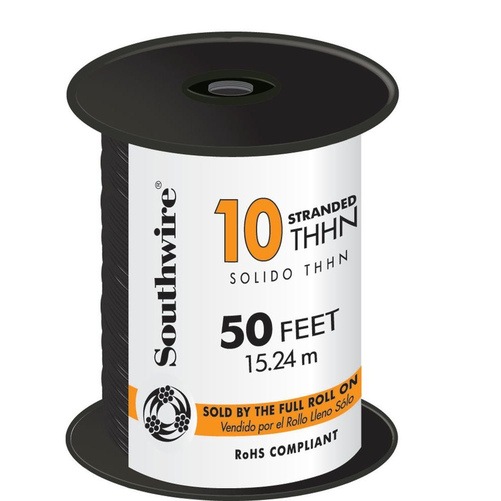 Southwire 50 ft. 10 Black Stranded CU THHN Wire-22973236 - The Home ...