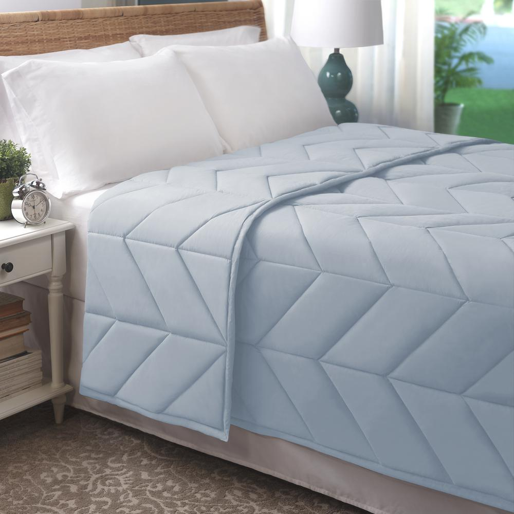 Light Blue Cotton Chevron Quilted Fullqueen Blanket Bl001372 F Q - Quilted-blankets-for-the-bed
