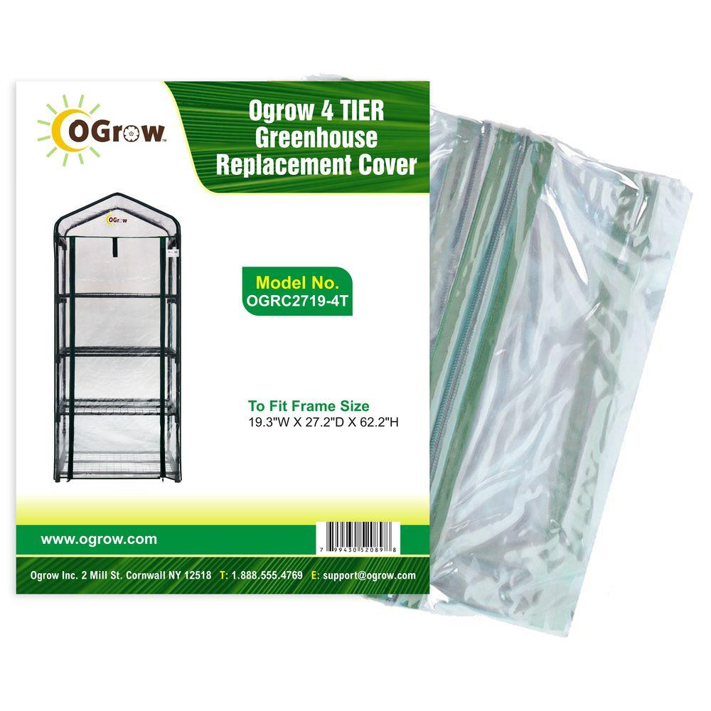 Ogrow 19.3 in. W x 27.2 in. D x 62.2 in. H 4-Tier Greenhouse Replacement Cover