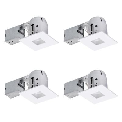 4 in. Swivel Square Recessed Kit Die-Cast Dimmable (4-Pack)
