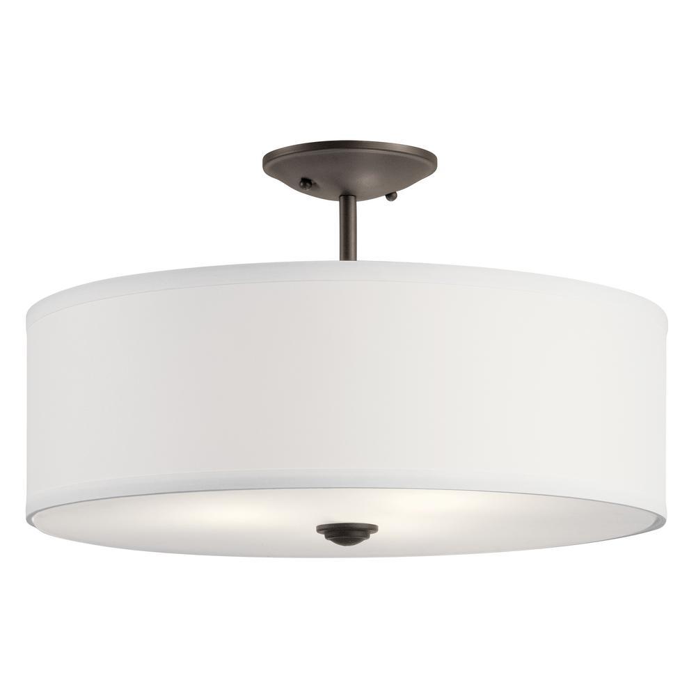 Shailene 18 in. Round 3-Light Olde Bronze Semi-Flush Mount Ceiling Light with White Microfiber Shade