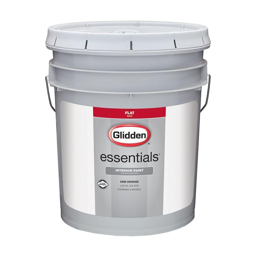 Glidden Essentials 5 Gal White Flat Interior Paint