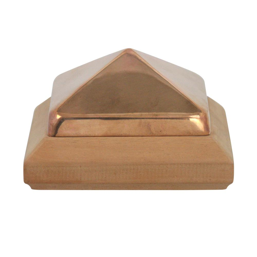 Protectyte Miterless 4 in. x 4 in. Untreated Wood Slip Over Fence Post Cap with Copper Pyramid