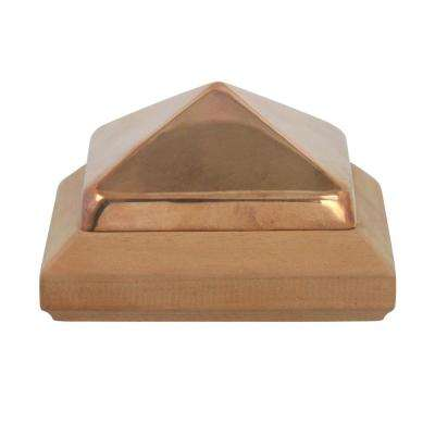 Miterless 4 in. x 4 in. Untreated Wood Slip Over Fence Post Cap with Copper Pyramid