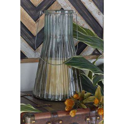Blue Ribbed Flask Candle Lanterns (Set of 2)