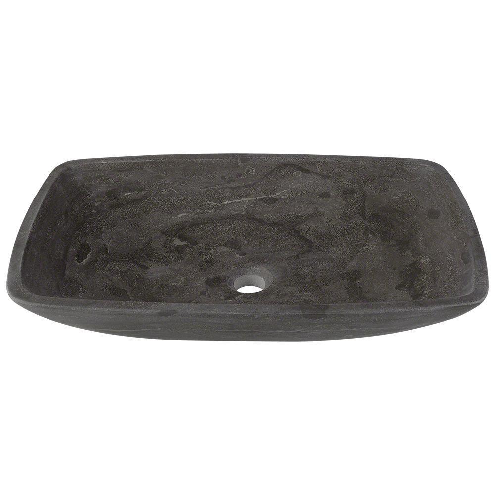 Stone Vessel Sink in Gray Limestone