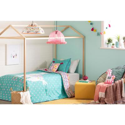 DreamIt 2-Piece Festive Llama Turquoise and Pink Twin Comforter and Pillowcase Set
