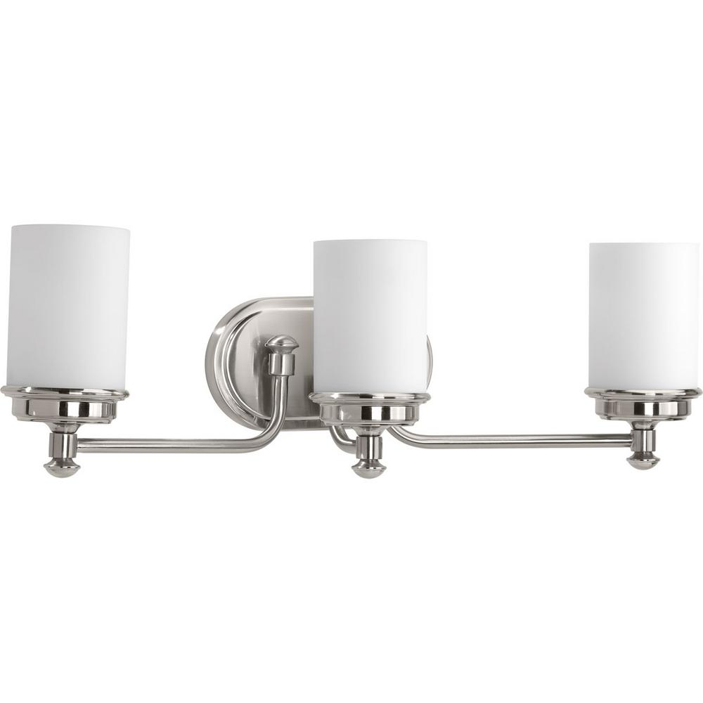 Hampton Bay Andenne 3-Light Brushed Nickel Vanity Light ...