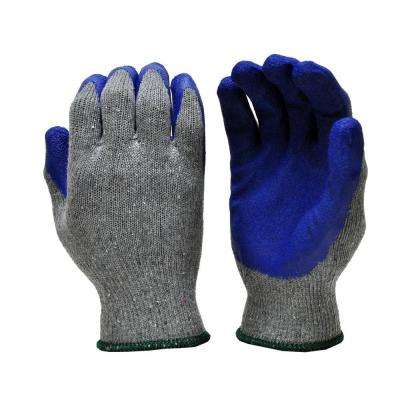 Large Blue Latex Palm and Finger Crinkle Pattern Rubber Coated Gloves (120-Case)