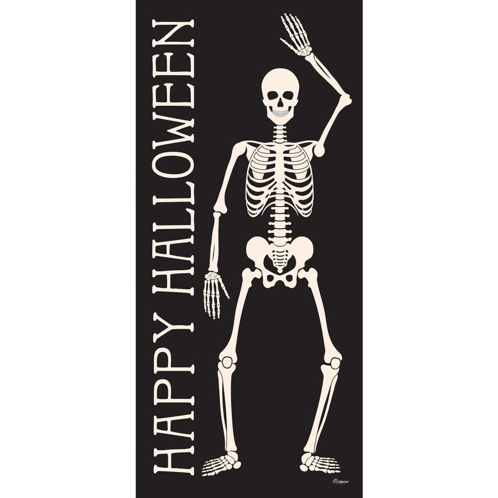 36 in. x 80 in. Happy Halloween Skeletons Front Door Decor Mural
