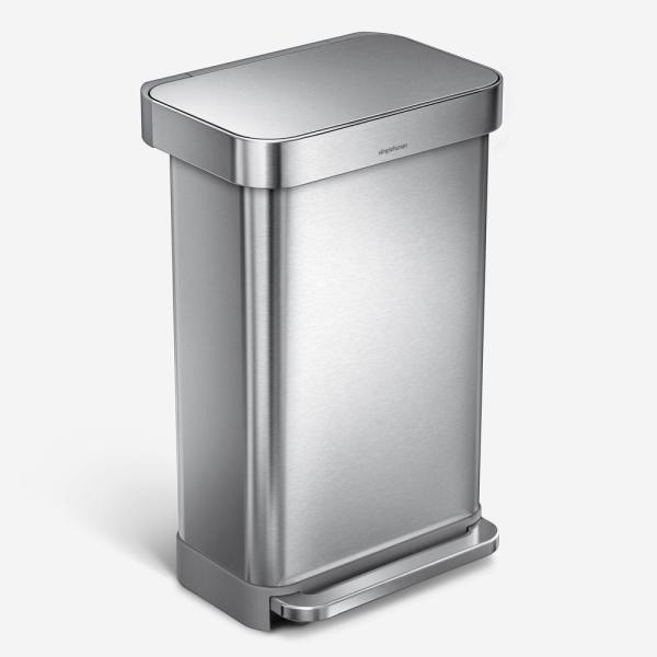 45-Liter Nano-Silver Clear Coat Brushed Stainless Steel Rectangular Liner Rim Step-On Trash Can