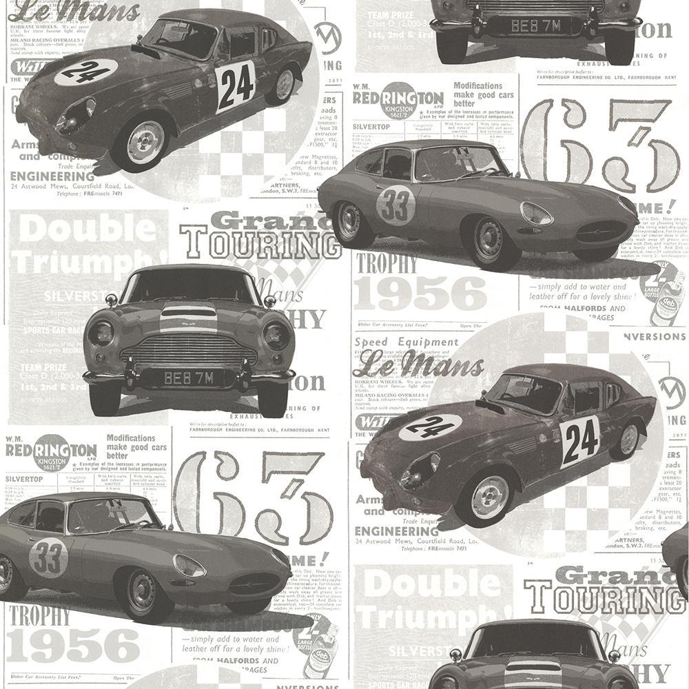 Road Trip Charcoal Antique Cars Wallpaper Sample