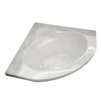 Jasper 5 ft. Acrylic Center Drain Corner Drop-in Non-Whirlpool Bathtub in White