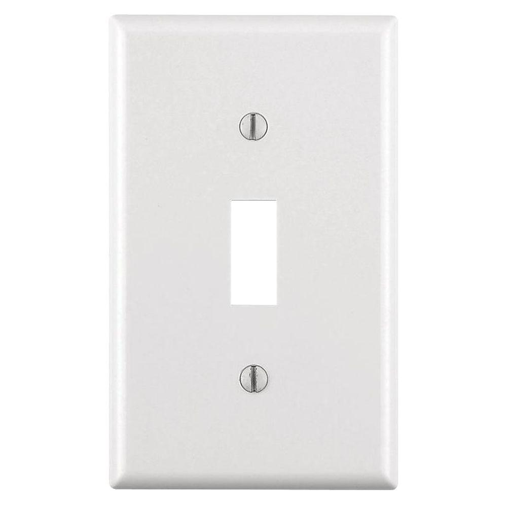 Leviton 1 Gang Toggle Wall Plate White R52 88001 00w The Home Depot