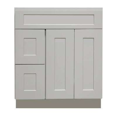Ready to Assemble Shaker 36 in. W x 21 in. D x 34.5 in. H Vanity Cabinet with 2-Doors and 2 Left Drawers in Gray