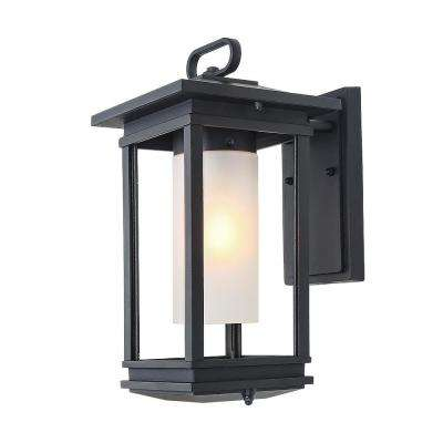Transitional 1-Light Black Outdoor Wall Mount Lantern with Frosted Cylinder