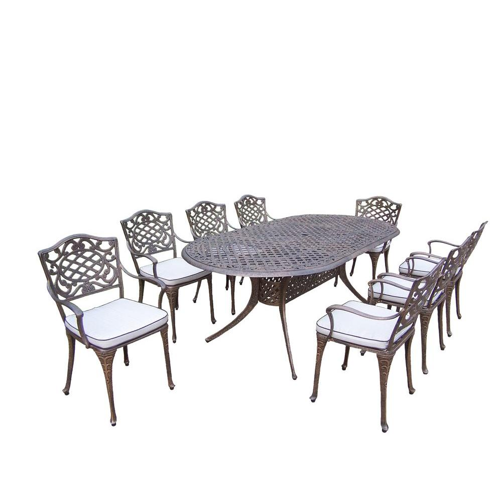 Oakland Living Mississippi 9-Piece Oval Patio Dining Set with Cushions