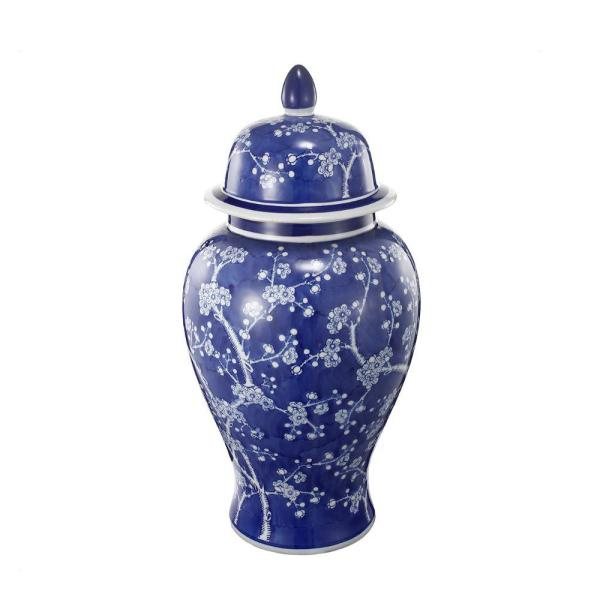 1-Piece Ceramic Flowers Designed Ginger Jar in Blue and White