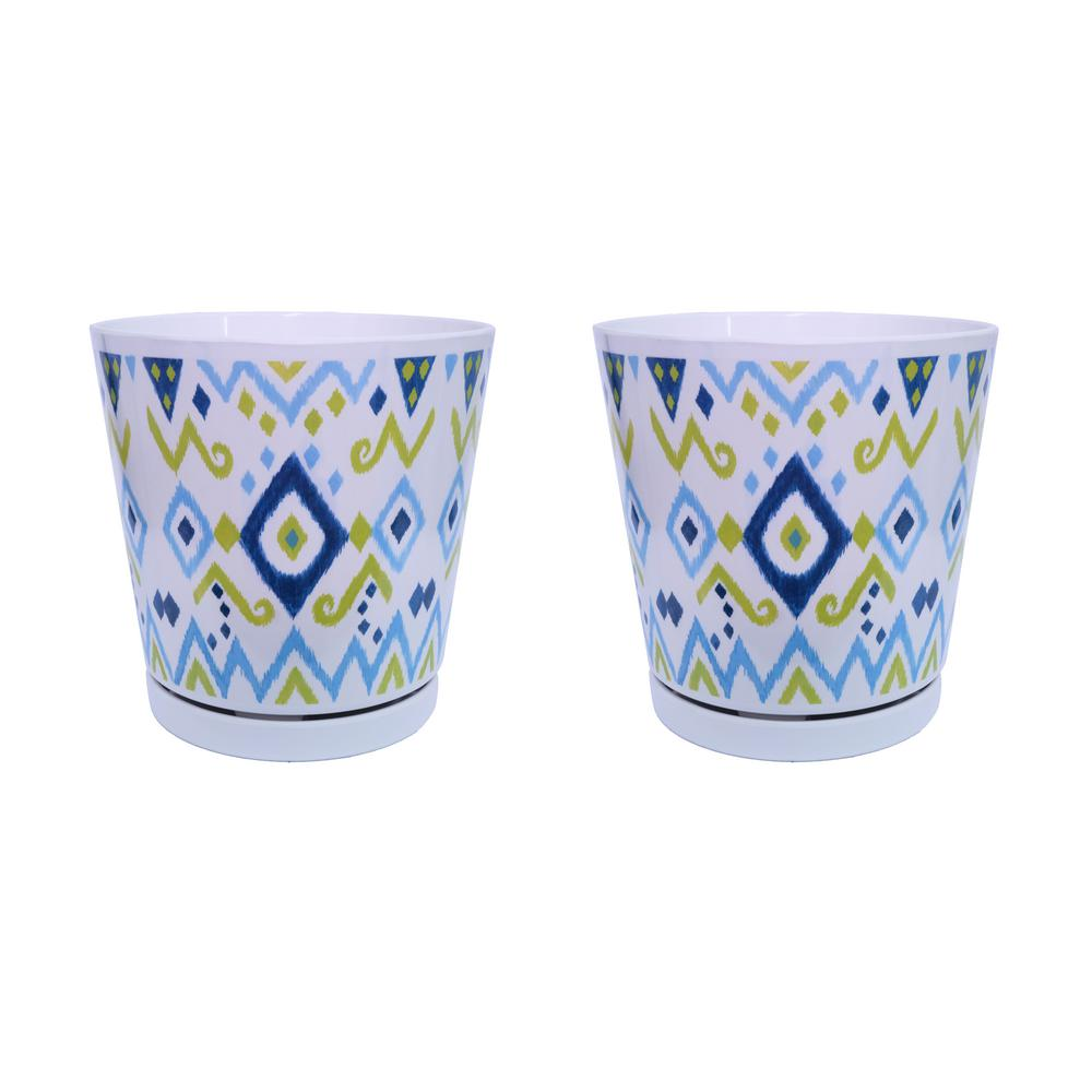 MPG 8.75 in. Blue Ikat Melamine Planter with Self Watering Saucer (2-Pack)