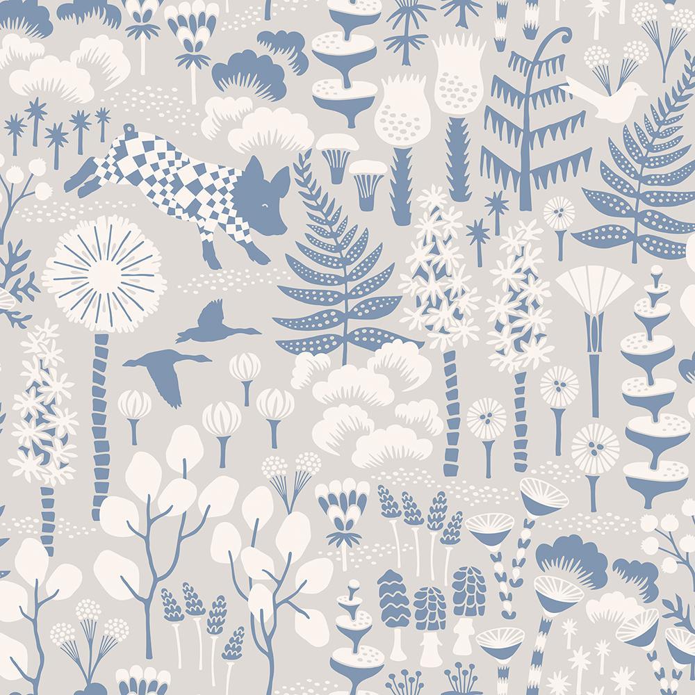 8 in. x 10 in. Hoppet Grey Folk Wallpaper Sample WV1454SAM