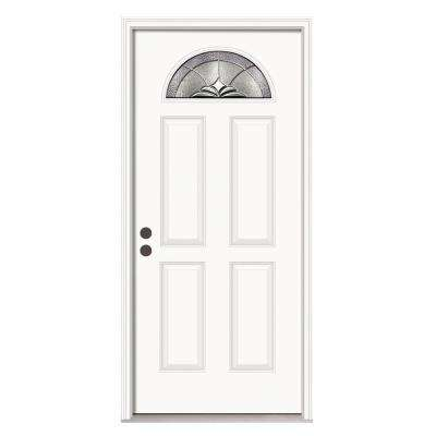 Langford Classic Fan Lite Primed Premium Steel Prehung Front Door with Nickel Caming and Brickmould