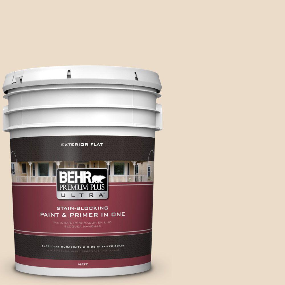 BEHR Premium Plus Ultra 5-gal. #N260-1 Vanilla Mocha Flat Exterior Paint