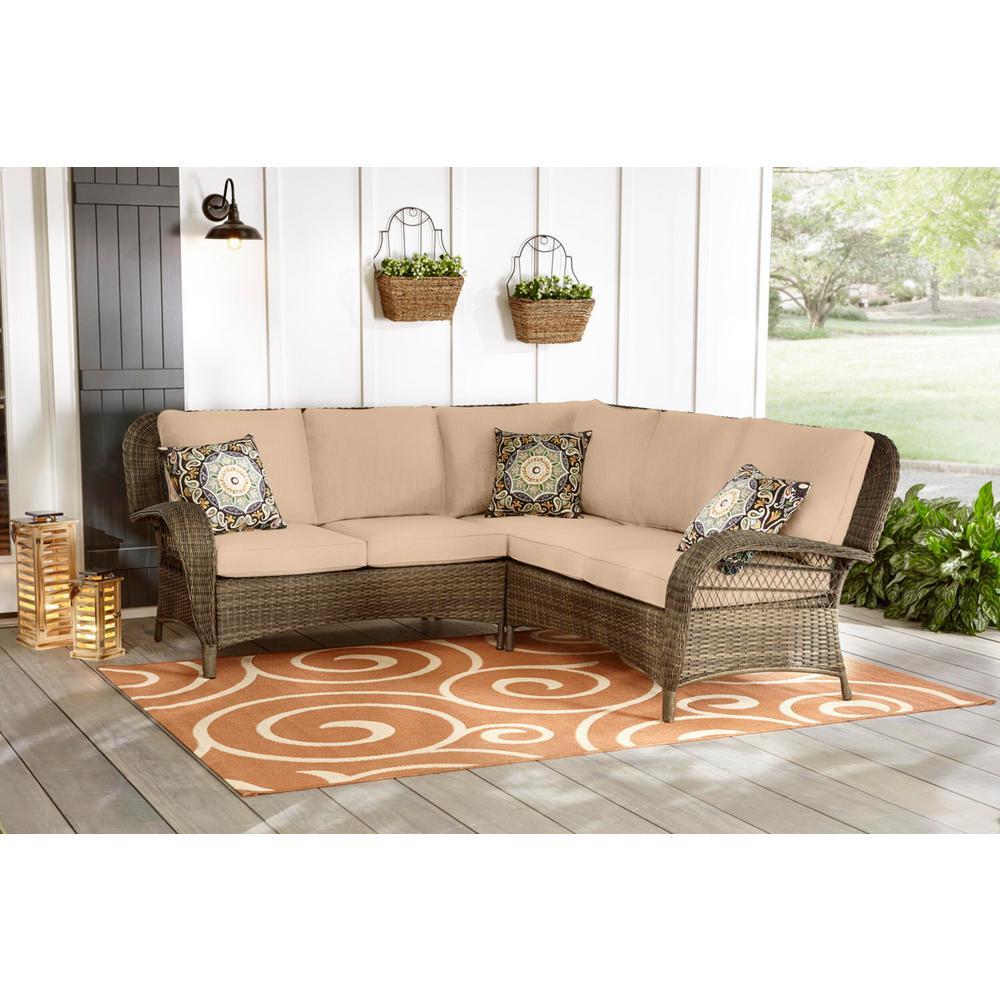 Beacon Park 3-Piece Brown Wicker Outdoor Patio Sectional Sofa with Sunbrella Beige Tan Cushions