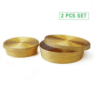 15 in x 2.5 in Gold Multi-Purpose Storage Iron Basket 2 Pack