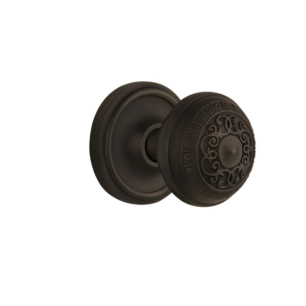 Classic Rosette 2-3/8 in. Backset Oil-Rubbed Bronze Passage Hall/Closet Egg and