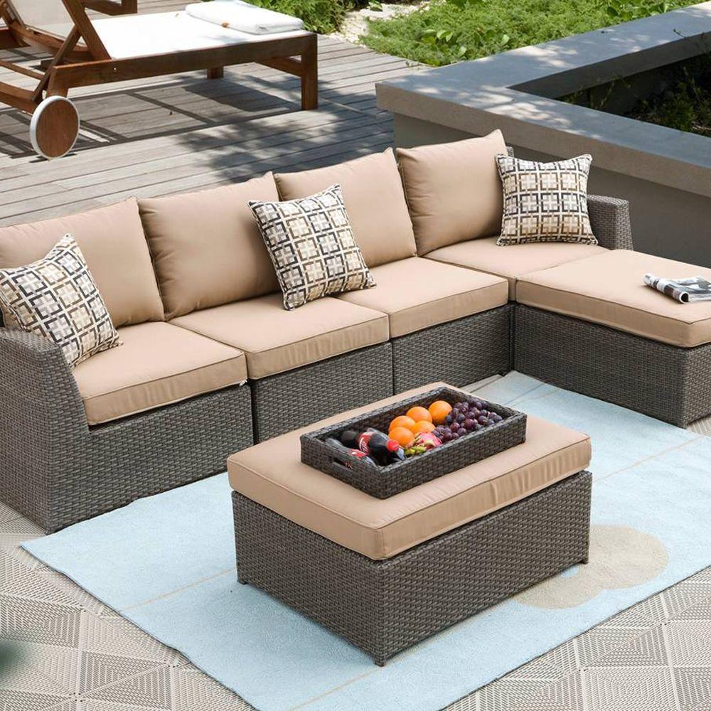 Caico Outdoor Furniture Metro 7-Piece Woven Wicker Patio Sectional Sofa Set-DISCONTINUED