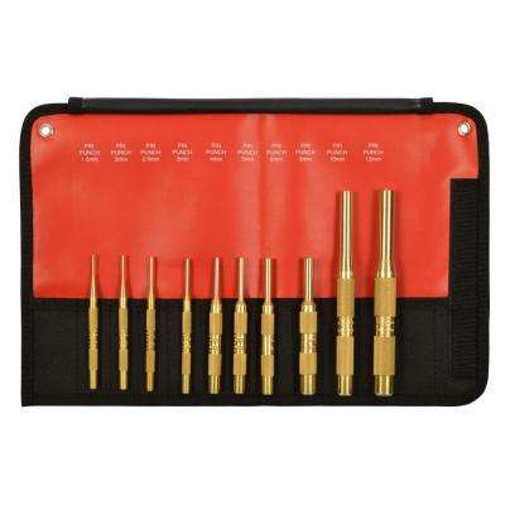 Brass Metric Pin Punch Set (10-Piece)