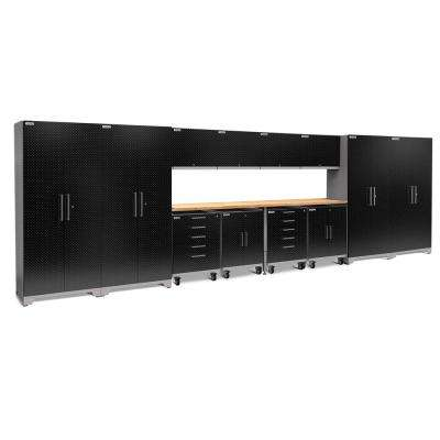 Performance Plus Diamond Plate 2.0 266 in. W x 83.25 in. H x 24 in. D Garage Cabinet Set in Black (14-Piece)