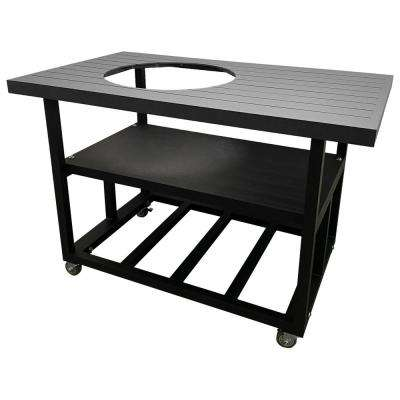 52 in. Aluminum Grill Cart Table for Large Big Green Egg in Charcoal Grey with Locking Wheels and Lifetime Warranty