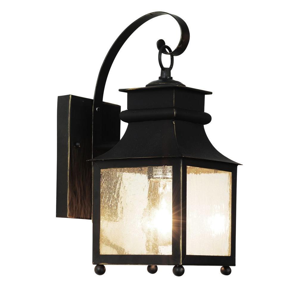 Stewart 1-Light Weather Bronze Outdoor Incandescent Wall Lantern