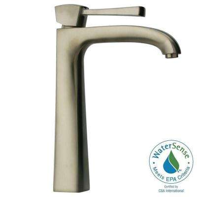 Lady Single Hole Single-Handle High-Arc Vessel Bathroom Faucet in Brushed Nickel