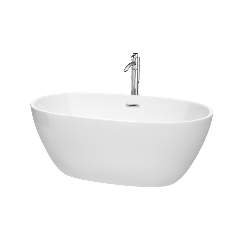 Wyndham Collection Juno 5.3 ft. Acrylic Flatbottom Non-Whirlpool ...