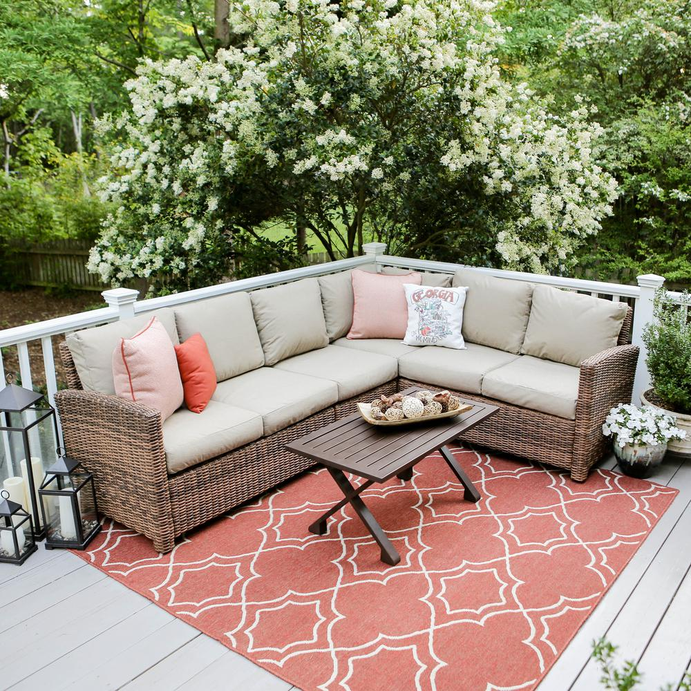 Dalton 5 Piece Wicker Outdoor Sectional Set With Tan Cushions 882914 TAN    The Home Depot