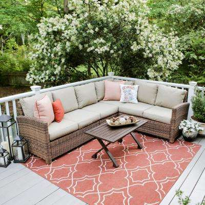 Dalton 5-Piece Wicker Outdoor Sectional Set with Tan Cushions